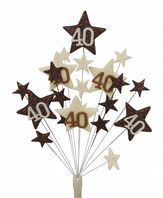 Star age 40th birthday cake topper decoration in choc and cream